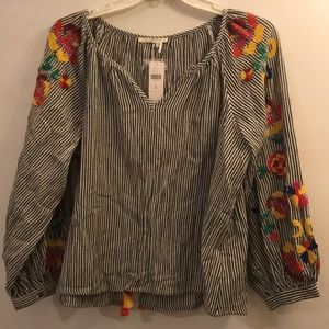 Anthropologie Embroidered & Striped Blouse